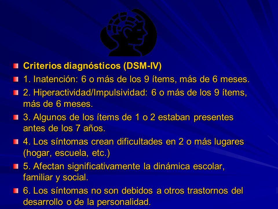 Criterios diagnósticos (DSM-IV) 1. Inatención: 6 o más de los 9 ítems, más de 6 meses.