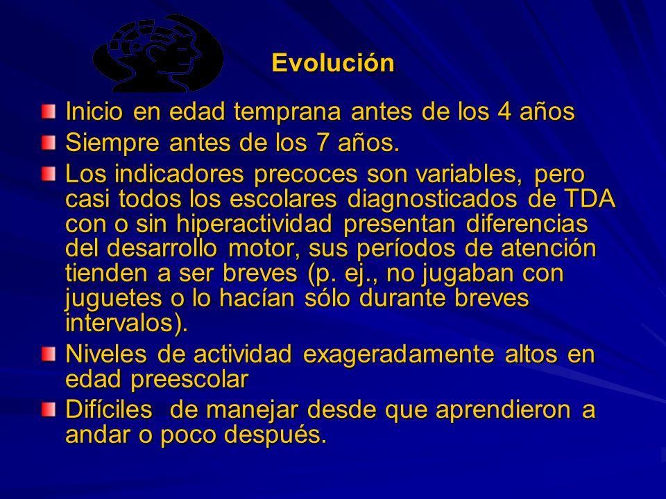 Evolución Inicio en edad temprana antes de los 4 años Siempre antes de los 7 años.