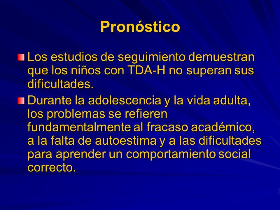 Pronóstico Los estudios de seguimiento demuestran que los niños con TDA-H no superan sus dificultades.