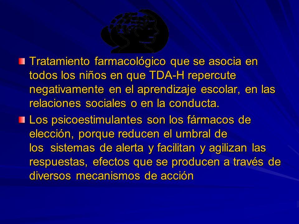 Tratamiento farmacológico que se asocia en todos los niños en que TDA-H repercute negativamente en el aprendizaje escolar, en las relaciones sociales o en la conducta.