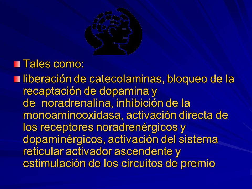 Tales como: liberación de catecolaminas, bloqueo de la recaptación de dopamina y de noradrenalina, inhibición de la monoaminooxidasa, activación directa de los receptores noradrenérgicos y dopaminérgicos, activación del sistema reticular activador ascendente y estimulación de los circuitos de premio