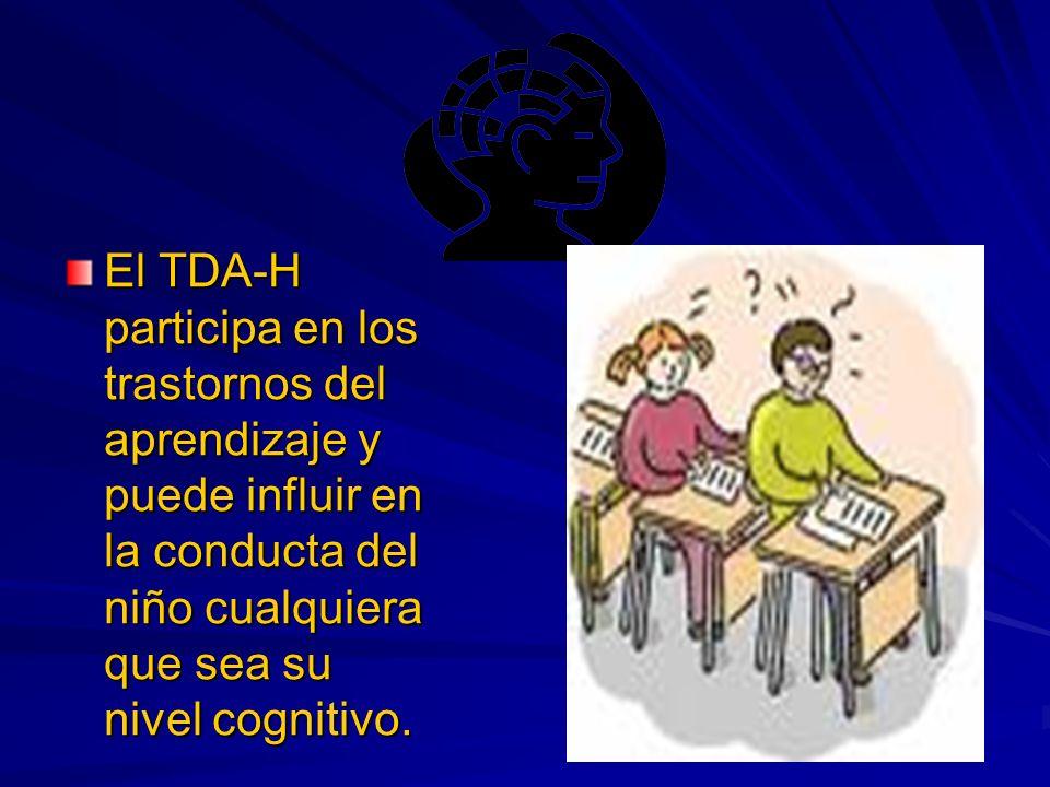 El TDA-H participa en los trastornos del aprendizaje y puede influir en la conducta del niño cualquiera que sea su nivel cognitivo.