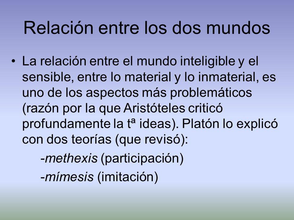 Relación entre los dos mundos La relación entre el mundo inteligible y el sensible, entre lo material y lo inmaterial, es uno de los aspectos más prob