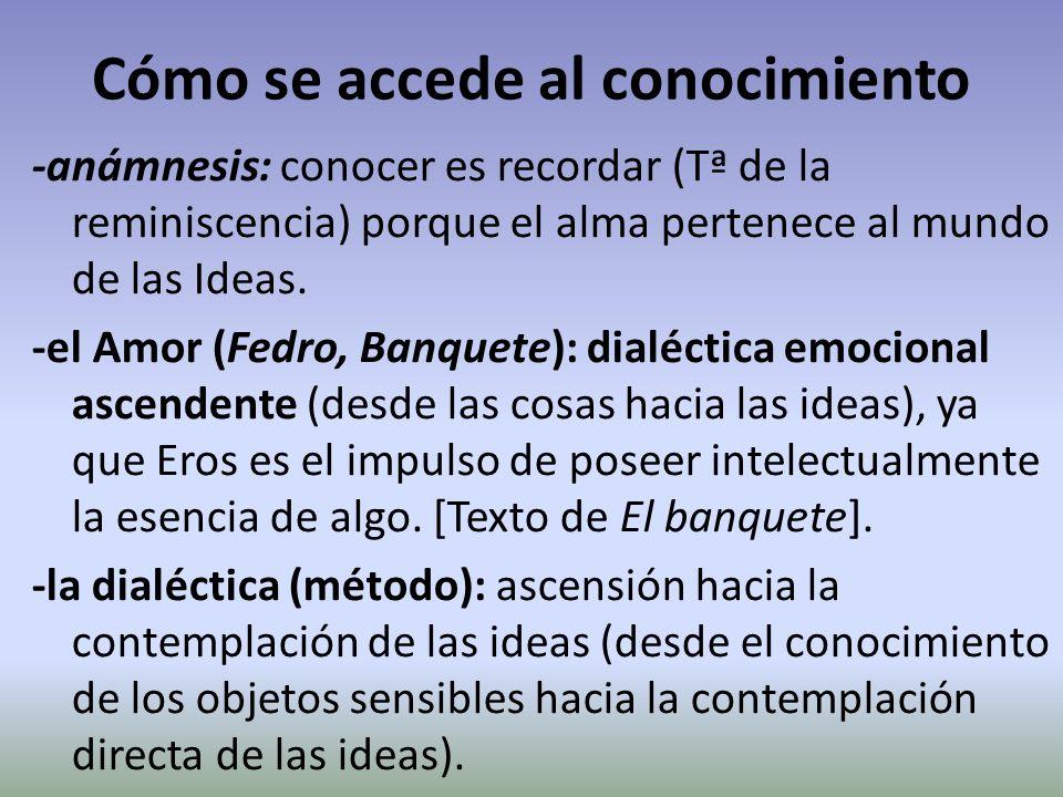 Cómo se accede al conocimiento -anámnesis: conocer es recordar (Tª de la reminiscencia) porque el alma pertenece al mundo de las Ideas. -el Amor (Fedr
