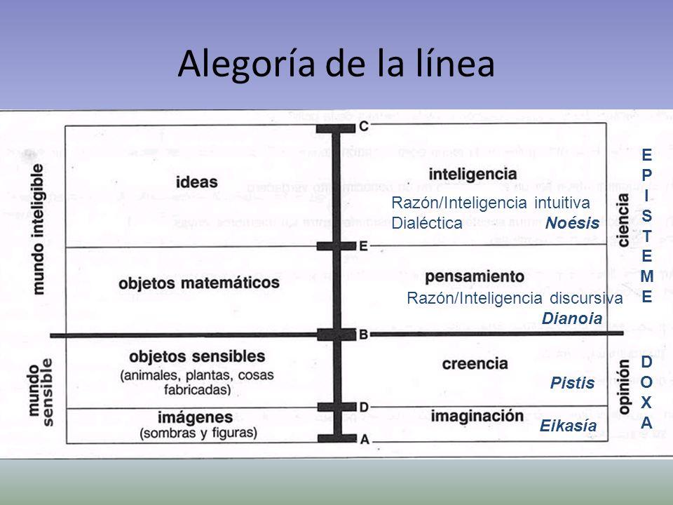 Alegoría de la línea Razón/Inteligencia intuitiva Dialéctica Noésis Razón/Inteligencia discursiva Dianoia Pistis Eikasía EPISTEMEEPISTEME DOXADOXA