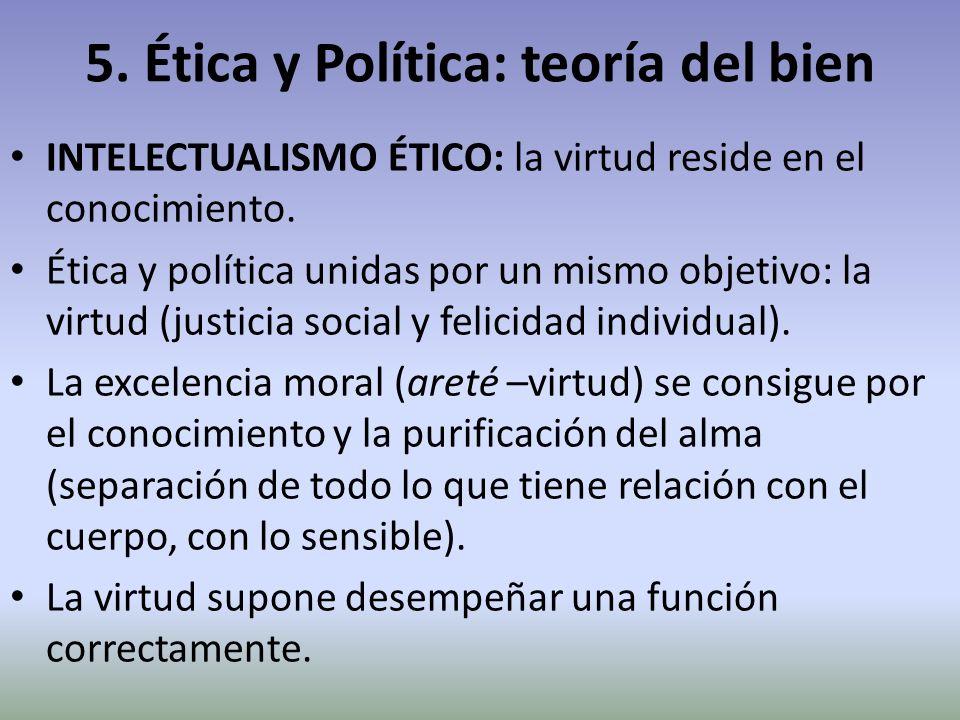 5. Ética y Política: teoría del bien INTELECTUALISMO ÉTICO: la virtud reside en el conocimiento. Ética y política unidas por un mismo objetivo: la vir