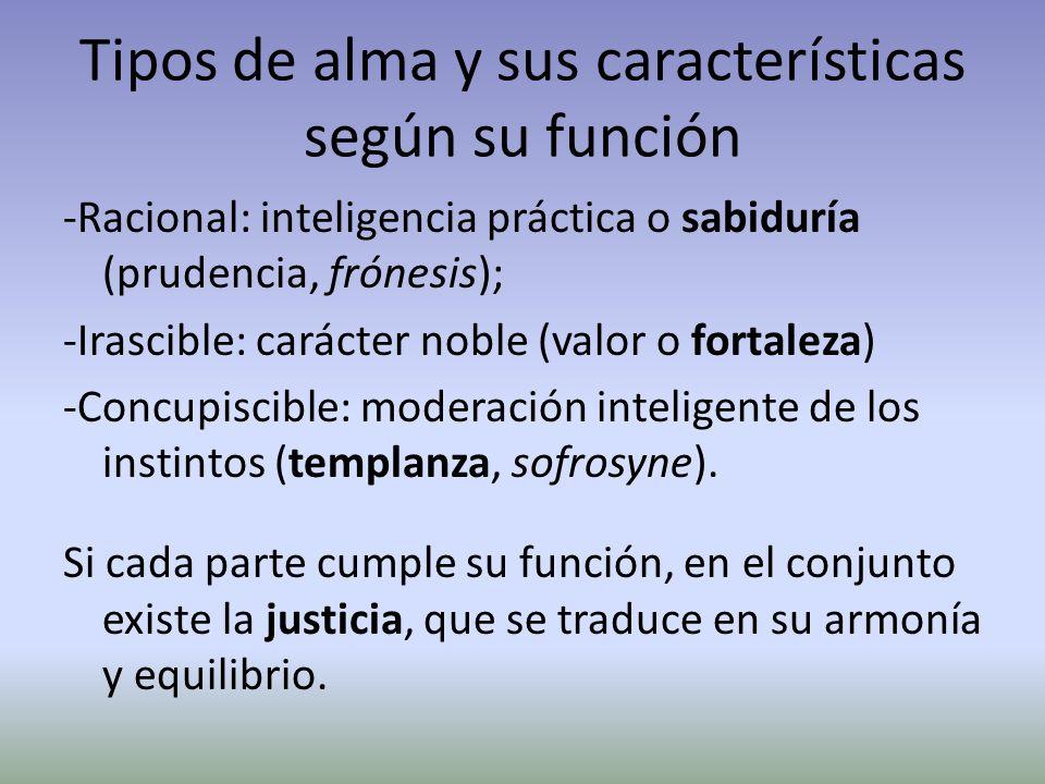 Tipos de alma y sus características según su función -Racional: inteligencia práctica o sabiduría (prudencia, frónesis); -Irascible: carácter noble (v