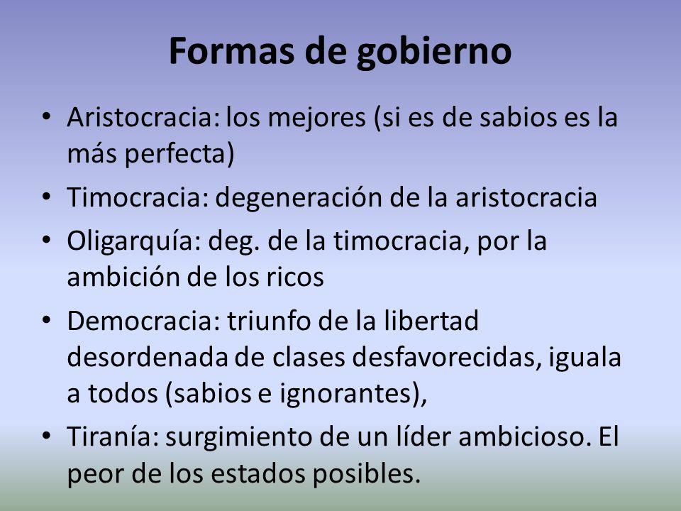 Formas de gobierno Aristocracia: los mejores (si es de sabios es la más perfecta) Timocracia: degeneración de la aristocracia Oligarquía: deg. de la t