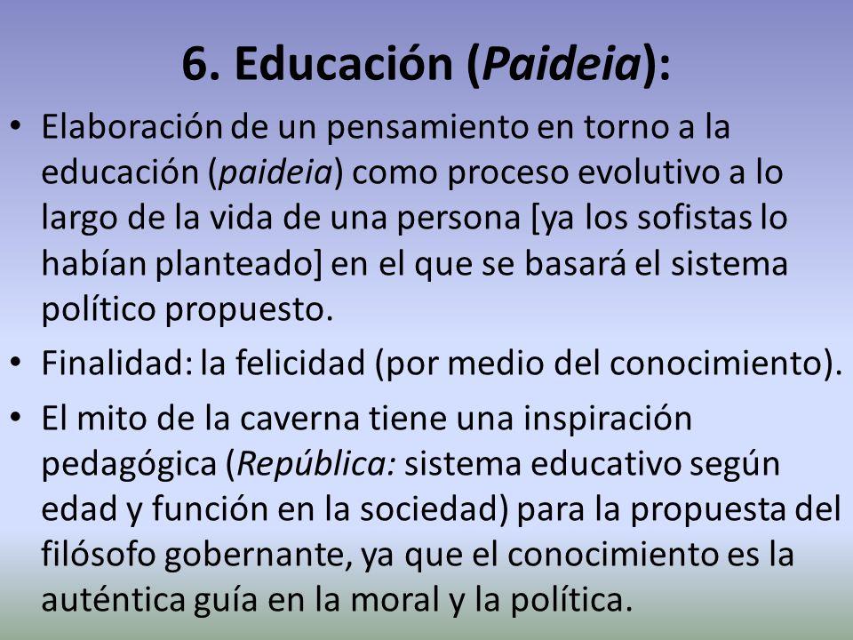 6. Educación (Paideia): Elaboración de un pensamiento en torno a la educación (paideia) como proceso evolutivo a lo largo de la vida de una persona [y