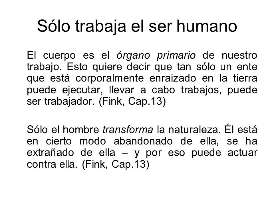 Sólo trabaja el ser humano El cuerpo es el órgano primario de nuestro trabajo.
