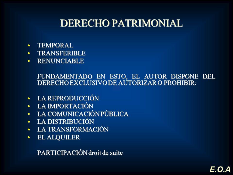 DERECHO PATRIMONIAL TEMPORALTEMPORAL TRANSFERIBLETRANSFERIBLE RENUNCIABLERENUNCIABLE FUNDAMENTADO EN ESTO, EL AUTOR DISPONE DEL DERECHO EXCLUSIVO DE A