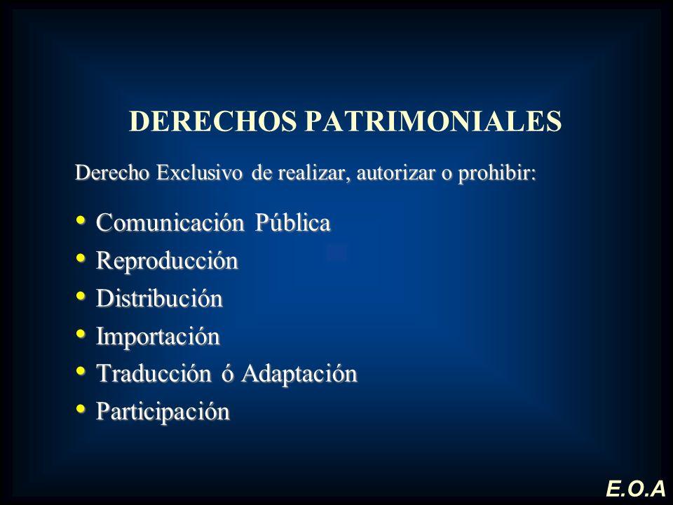 DERECHOS PATRIMONIALES Derecho Exclusivo de realizar, autorizar o prohibir: Comunicación Pública Comunicación Pública Reproducción Reproducción Distri