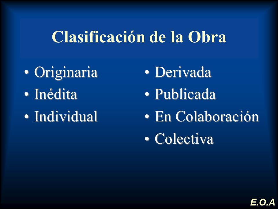 Clasificación de la Obra OriginariaOriginaria InéditaInédita IndividualIndividual DerivadaDerivada PublicadaPublicada En ColaboraciónEn Colaboración C