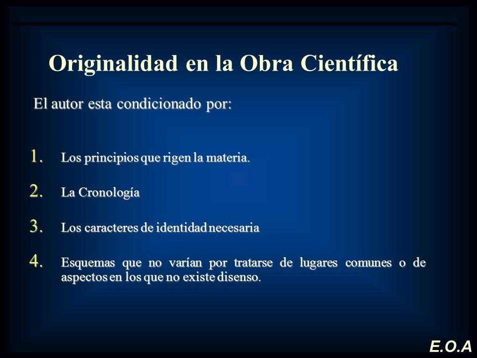 Originalidad en la Obra Científica El autor esta condicionado por: El autor esta condicionado por: 1. Los principios que rigen la materia. 2. La Crono