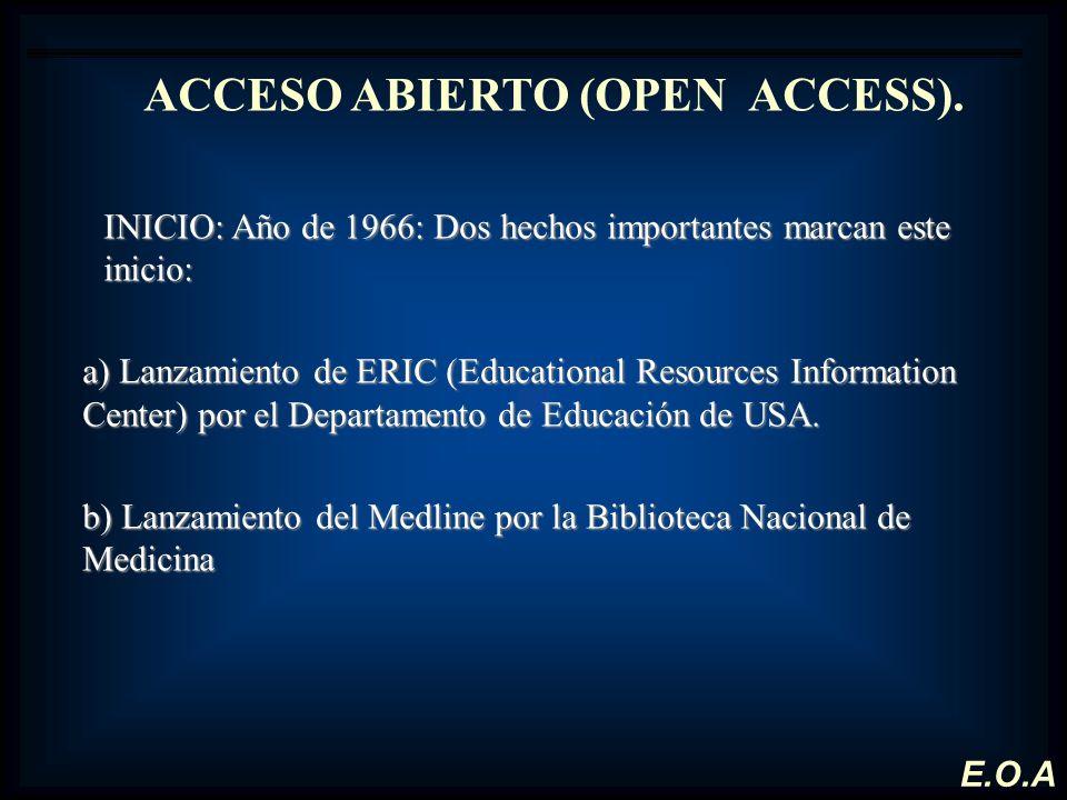 ACCESO ABIERTO (OPEN ACCESS). INICIO: Año de 1966: Dos hechos importantes marcan este inicio: a) Lanzamiento de ERIC (Educational Resources Informatio