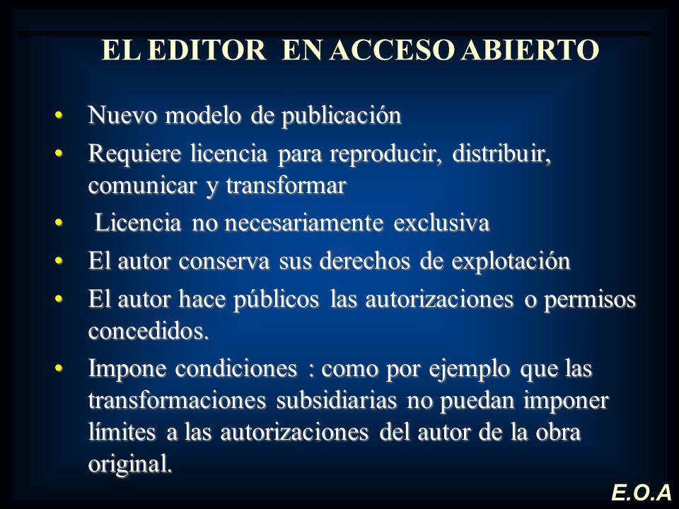 EL EDITOR EN ACCESO ABIERTO Nuevo modelo de publicaciónNuevo modelo de publicación Requiere licencia para reproducir, distribuir, comunicar y transfor