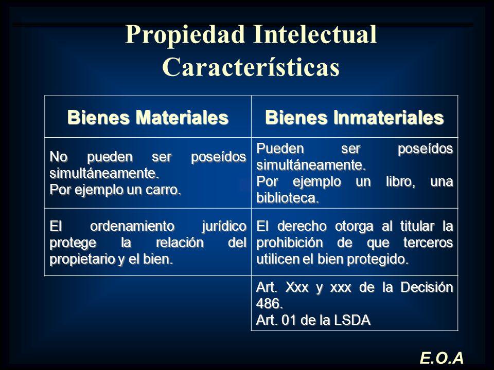 Propiedad Intelectual Características Bienes Materiales Bienes Inmateriales No pueden ser poseídos simultáneamente. Por ejemplo un carro. Pueden ser p