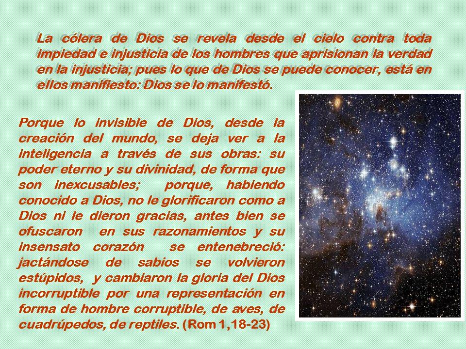 Porque lo invisible de Dios, desde la creación del mundo, se deja ver a la inteligencia a través de sus obras: su poder eterno y su divinidad, de form