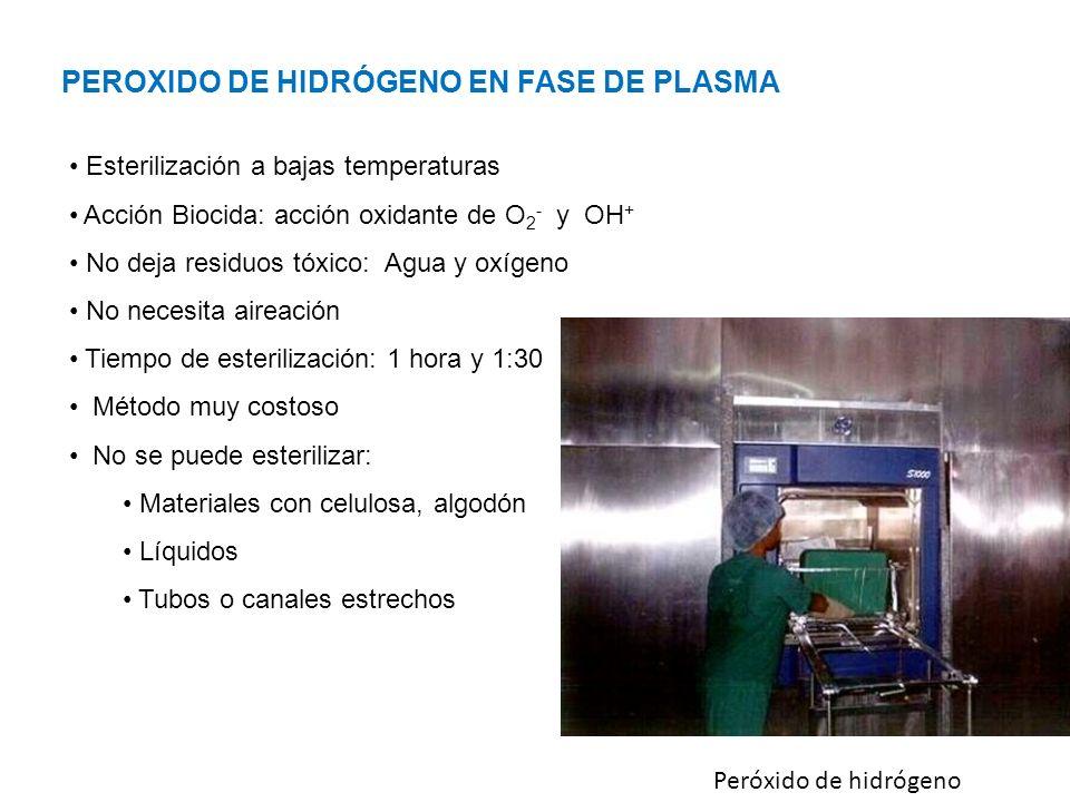 Peróxido de hidrógeno PEROXIDO DE HIDRÓGENO EN FASE DE PLASMA Esterilización a bajas temperaturas Acción Biocida: acción oxidante de O 2 - y OH + No deja residuos tóxico: Agua y oxígeno No necesita aireación Tiempo de esterilización: 1 hora y 1:30 Método muy costoso No se puede esterilizar: Materiales con celulosa, algodón Líquidos Tubos o canales estrechos