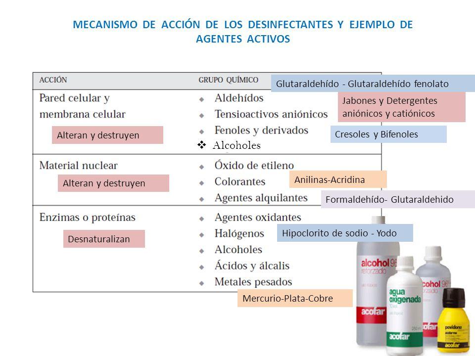 MECANISMO DE ACCIÓN DE LOS DESINFECTANTES Y EJEMPLO DE AGENTES ACTIVOS Glutaraldehído - Glutaraldehído fenolato Hipoclorito de sodio - Yodo Jabones y Detergentes aniónicos y catiónicos Desnaturalizan Alteran y destruyen Cresoles y Bifenoles Anilinas-Acridina Alcoholes Mercurio-Plata-Cobre Formaldehído- Glutaraldehido Alteran y destruyen