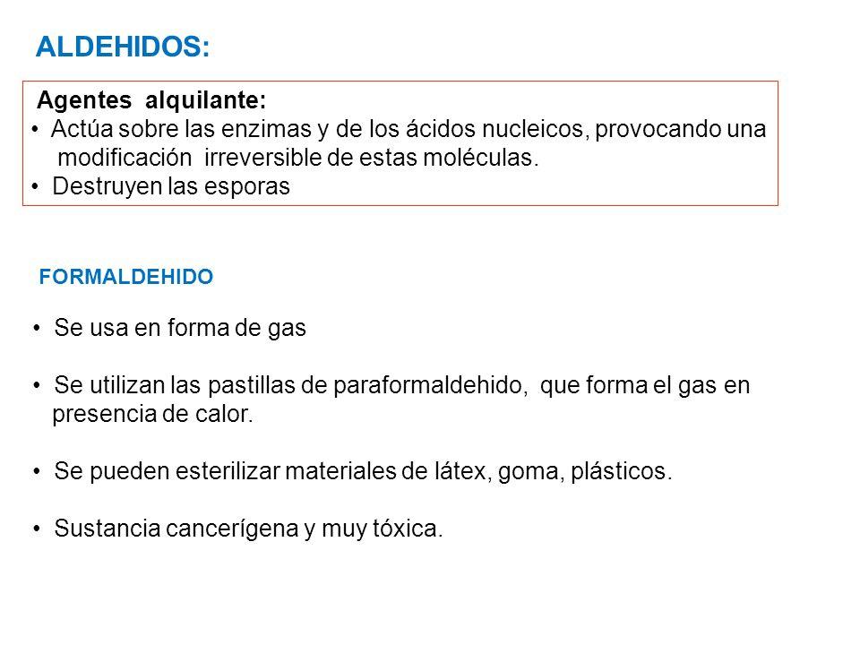 Se usa en forma de gas Se utilizan las pastillas de paraformaldehido, que forma el gas en presencia de calor.