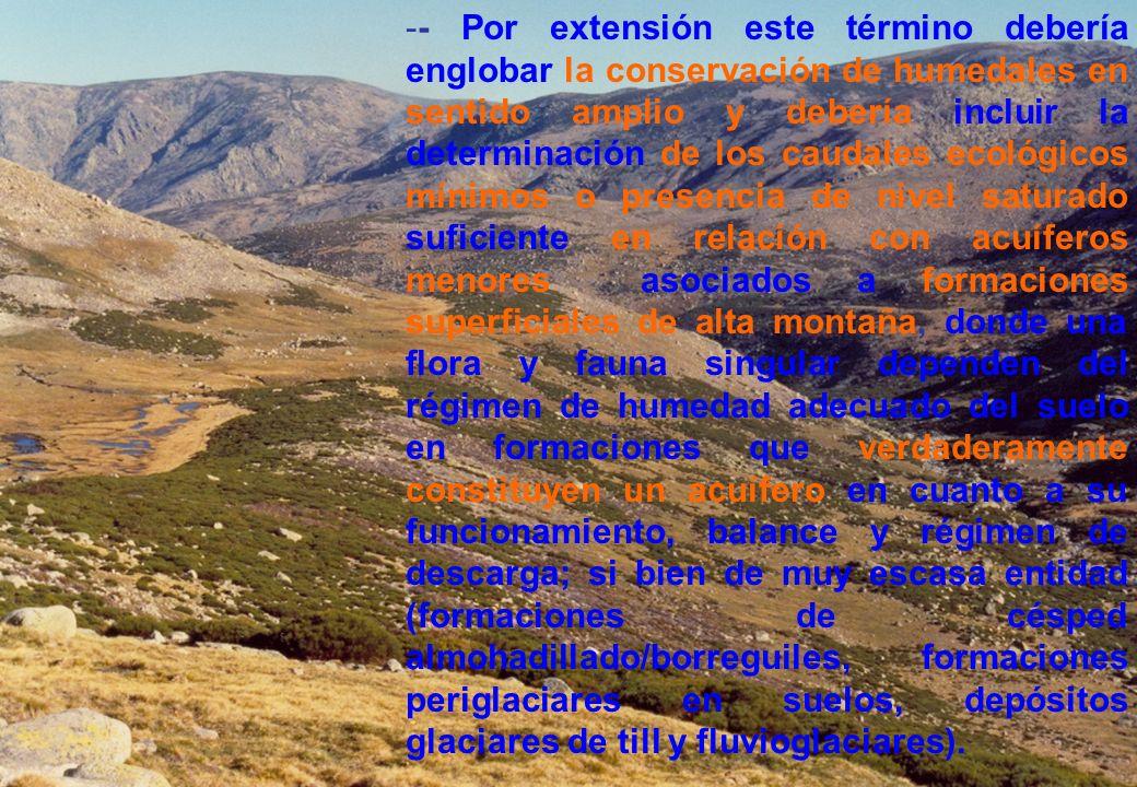 -- Por extensión este término debería englobar la conservación de humedales en sentido amplio y debería incluir la determinación de los caudales ecoló