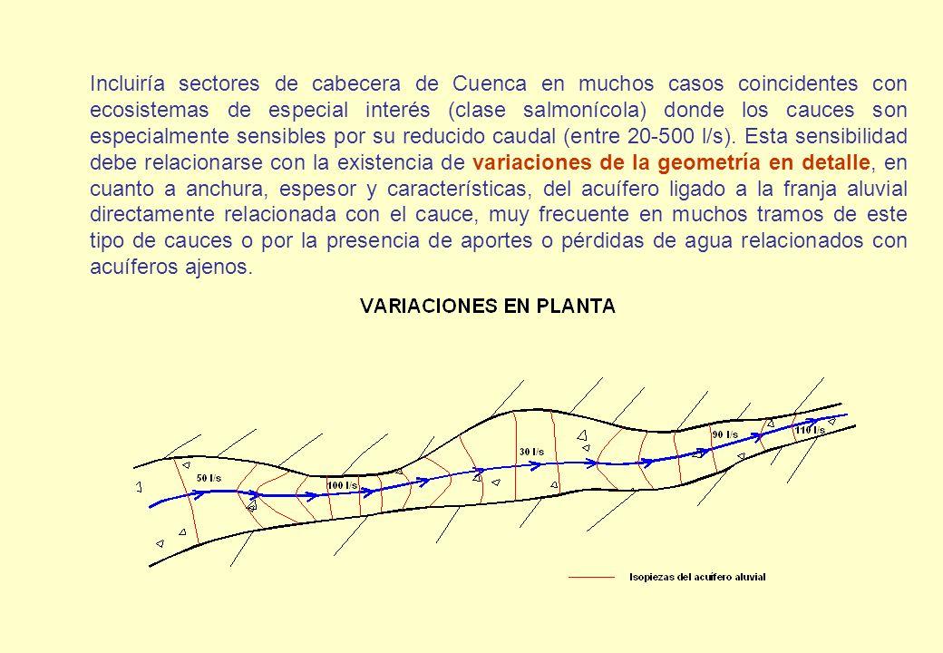 Incluiría sectores de cabecera de Cuenca en muchos casos coincidentes con ecosistemas de especial interés (clase salmonícola) donde los cauces son esp