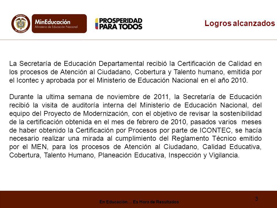 3 Logros alcanzados La Secretaría de Educación Departamental recibió la Certificación de Calidad en los procesos de Atención al Ciudadano, Cobertura y Talento humano, emitida por el Icontec y aprobada por el Ministerio de Educación Nacional en el año 2010.