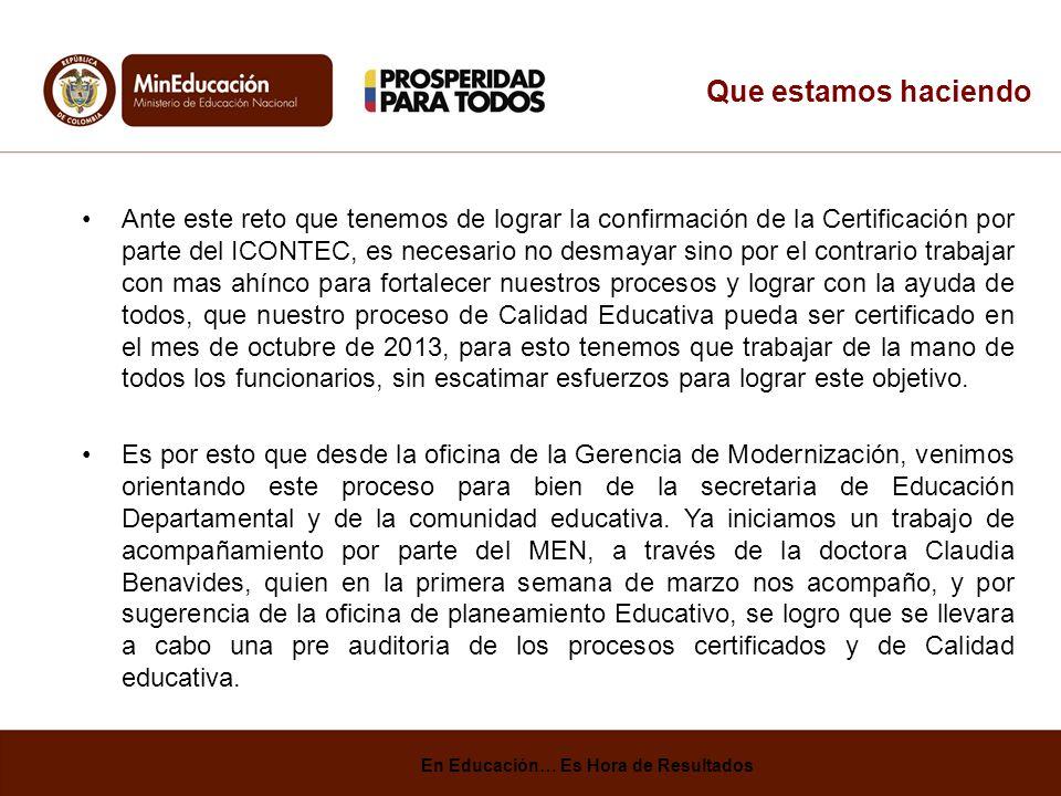 Que estamos haciendo Ante este reto que tenemos de lograr la confirmación de la Certificación por parte del ICONTEC, es necesario no desmayar sino por el contrario trabajar con mas ahínco para fortalecer nuestros procesos y lograr con la ayuda de todos, que nuestro proceso de Calidad Educativa pueda ser certificado en el mes de octubre de 2013, para esto tenemos que trabajar de la mano de todos los funcionarios, sin escatimar esfuerzos para lograr este objetivo.