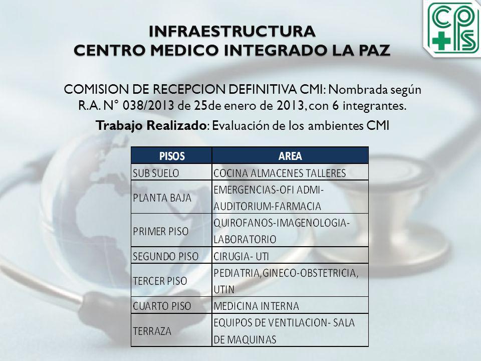 INFRAESTRUCTURA CENTRO MEDICO INTEGRADO LA PAZ COMISION DE RECEPCION DEFINITIVA CMI: Nombrada según R.A. N° 038/2013 de 25de enero de 2013, con 6 inte