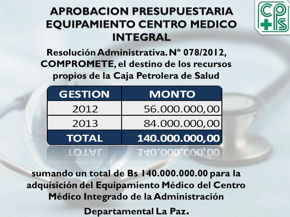 APROBACION PRESUPUESTARIA EQUIPAMIENTO CENTRO MEDICO INTEGRAL Resolución Administrativa. Nº 078/2012, COMPROMETE, el destino de los recursos propios d