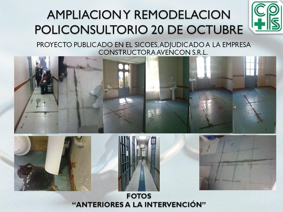 AMPLIACION Y REMODELACION POLICONSULTORIO 20 DE OCTUBRE FOTOS ANTERIORES A LA INTERVENCIÓN PROYECTO PUBLICADO EN EL SICOES, ADJUDICADO A LA EMPRESA CO