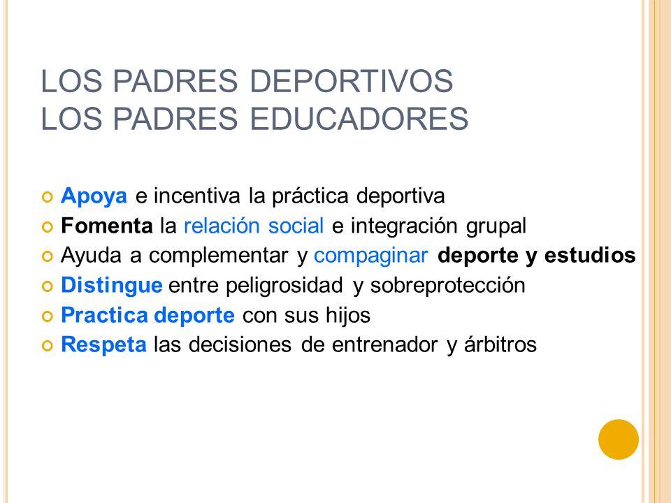 LOS PADRES DEPORTIVOS LOS PADRES EDUCADORES Apoya e incentiva la práctica deportiva Fomenta la relación social e integración grupal Ayuda a complement