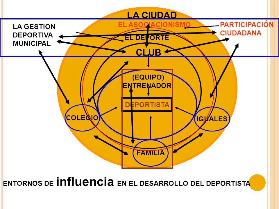 DEPORTISTA FAMILIA COLEGIO IGUALES CLUB (EQUIPO) ENTRENADOR LA CIUDAD LA GESTION DEPORTIVA MUNICIPAL EL DEPORTE EL ASOCIACIONISMOPARTICIPACIÓN CIUDADANA ENTORNOS DE EXCELENCIA EN EL DESARROLLO DEL DEPORTISTA