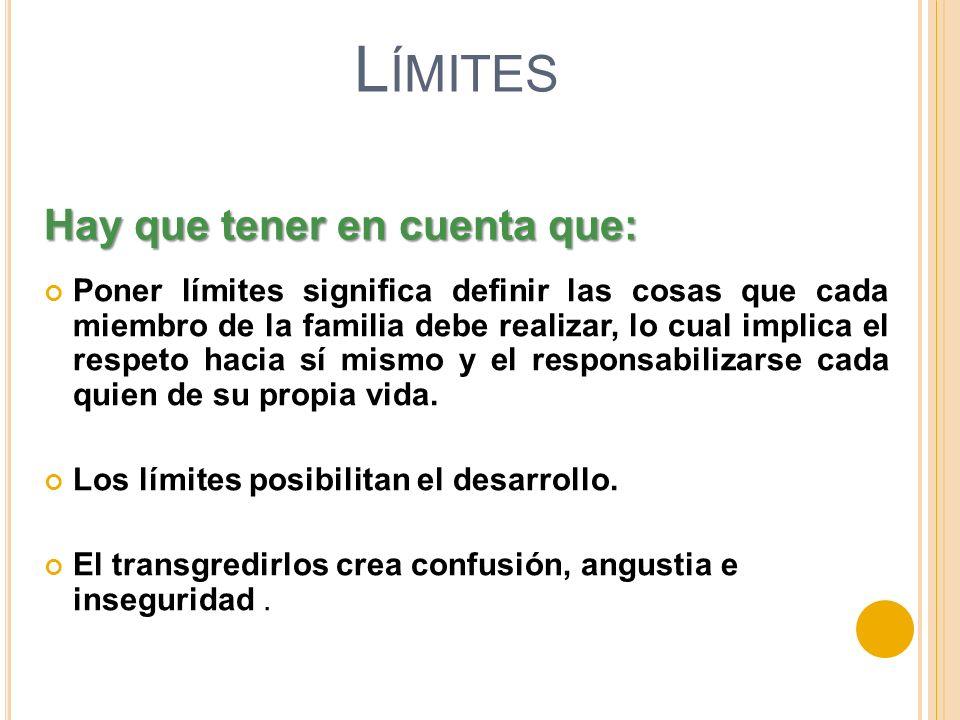 L ÍMITES Poner límites significa definir las cosas que cada miembro de la familia debe realizar, lo cual implica el respeto hacia sí mismo y el respon