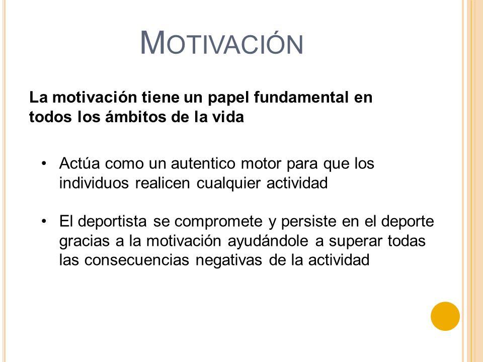 M OTIVACIÓN La motivación tiene un papel fundamental en todos los ámbitos de la vida Actúa como un autentico motor para que los individuos realicen cu