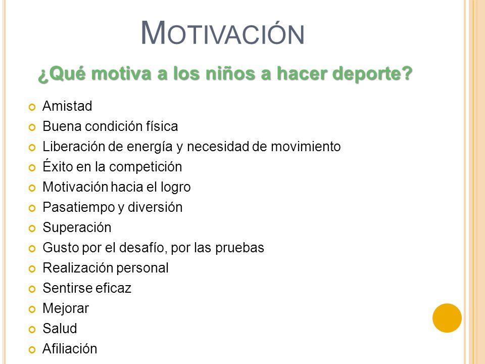 M OTIVACIÓN Amistad Buena condición física Liberación de energía y necesidad de movimiento Éxito en la competición Motivación hacia el logro Pasatiemp