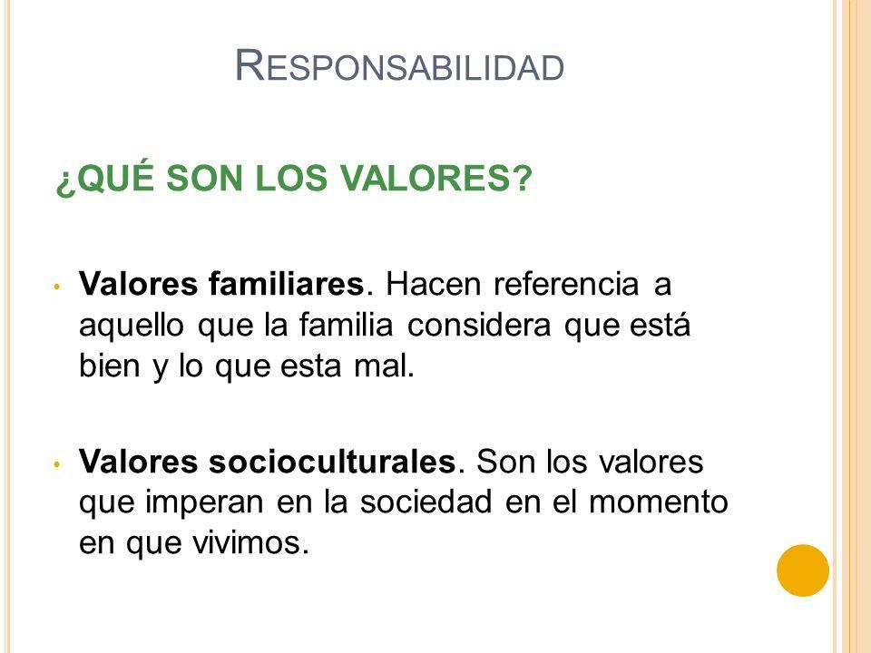 ¿QUÉ SON LOS VALORES? Valores familiares. Hacen referencia a aquello que la familia considera que está bien y lo que esta mal. Valores socioculturales