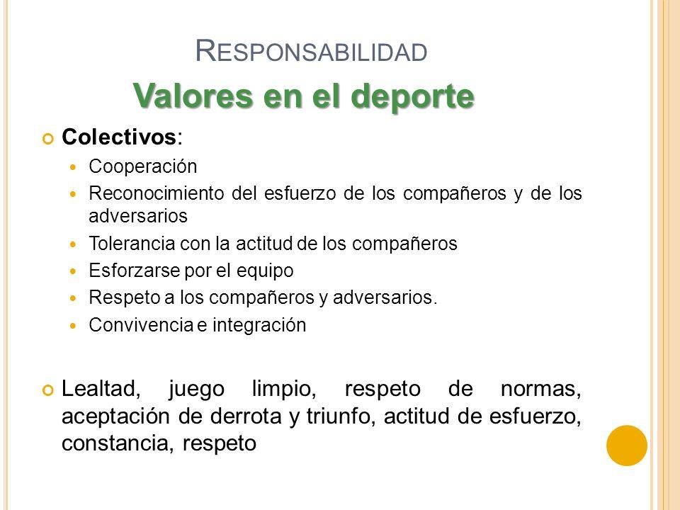 R ESPONSABILIDAD Colectivos: Cooperación Reconocimiento del esfuerzo de los compañeros y de los adversarios Tolerancia con la actitud de los compañero