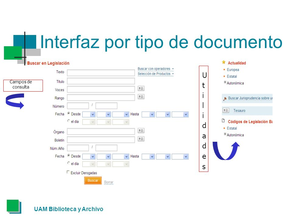 UAM Biblioteca y Archivo Interfaz por tipo de documento Campos de consulta
