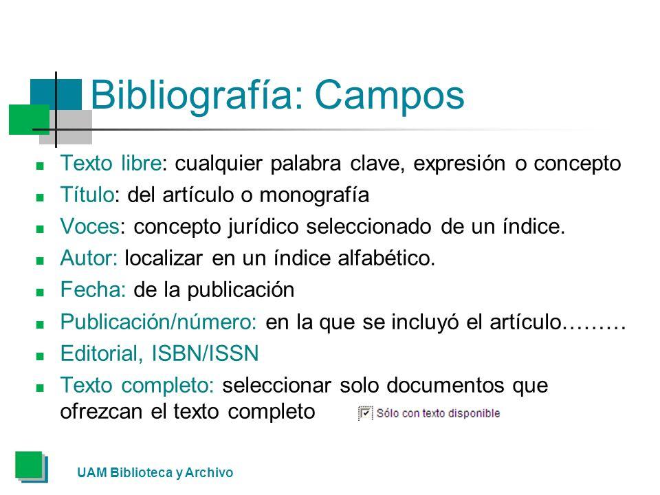 Bibliografía: Campos Texto libre: cualquier palabra clave, expresión o concepto Título: del artículo o monografía Voces: concepto jurídico seleccionado de un índice.