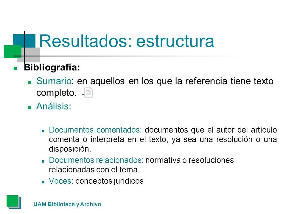 UAM Biblioteca y Archivo Resultados: estructura Bibliografía: Sumario: en aquellos en los que la referencia tiene texto completo.