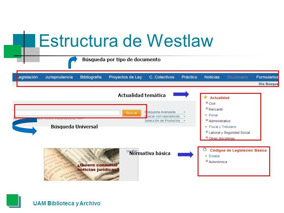 Estructura de Westlaw UAM Biblioteca y Archivo Búsqueda por tipo de documento Búsqueda Universal Actualidad temática Normativa básica
