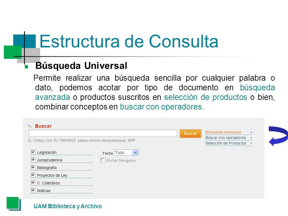 Estructura de Consulta Búsqueda Universal Permite realizar una búsqueda sencilla por cualquier palabra o dato, podemos acotar por tipo de documento en búsqueda avanzada o productos suscritos en selección de productos o bien, combinar conceptos en buscar con operadores.