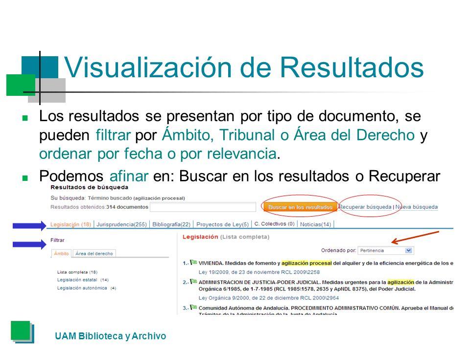 Visualización de Resultados Los resultados se presentan por tipo de documento, se pueden filtrar por Ámbito, Tribunal o Área del Derecho y ordenar por fecha o por relevancia.