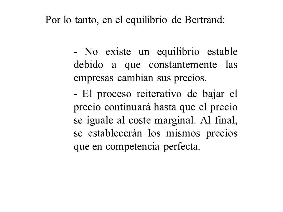 Por lo tanto, en el equilibrio de Bertrand: - No existe un equilibrio estable debido a que constantemente las empresas cambian sus precios.