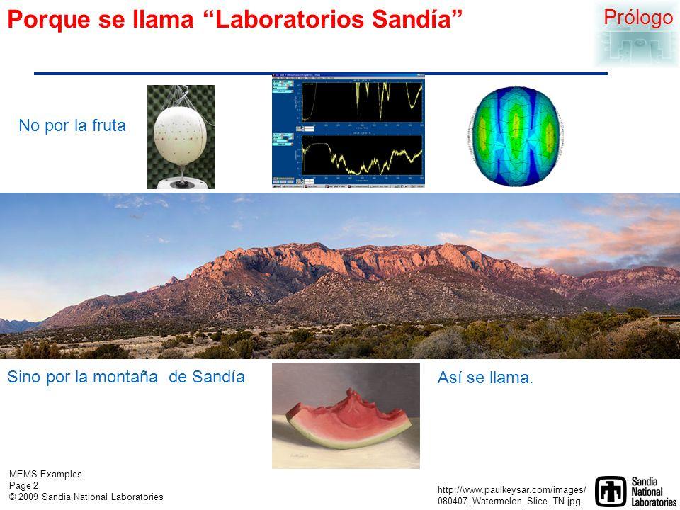 MEMS Examples Page 2 © 2009 Sandia National Laboratories Porque se llama Laboratorios Sandía Prólogo Sino por la montaña de Sandía http://www.paulkeysar.com/images/ 080407_Watermelon_Slice_TN.jpg Así se llama.