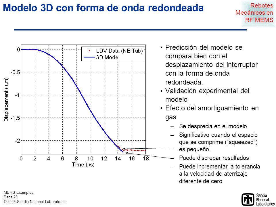 MEMS Examples Page 19 © 2009 Sandia National Laboratories Forma de onda redondeada Actuation waveform Displacement vs.