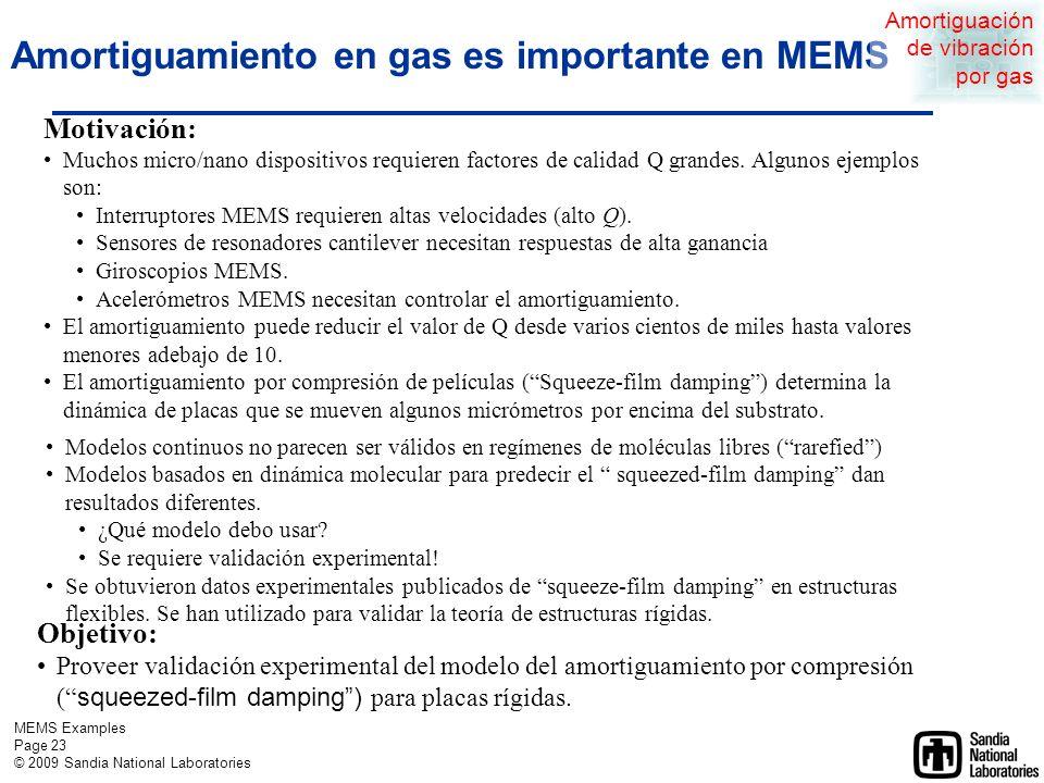 MEMS Examples Page 22 © 2009 Sandia National Laboratories Amortiguación de vibración por gas Estudio de caso 2 Amortiguamiento en gas de MEMS