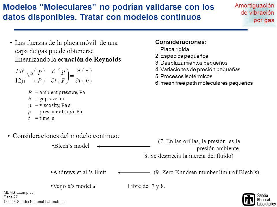 MEMS Examples Page 26 © 2009 Sandia National Laboratories Modelos moleculares publicados aún no explican mediciones de amortiguamiento reportadas Adapted to squeeze-film gap [M Bao et al 2002 J.